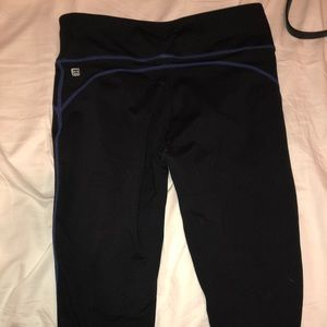 Fabletics Cropped Leggings w/ Blue Detail